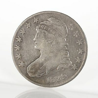 Raw 1829 Capped Bust 50C O-114 Uncertified Early US Mint Silver Half Dollar Coin