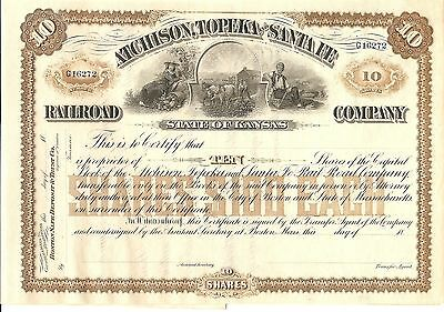 Atchison, Topeka And Santa Fe  Railroad State Of Kansas 10 Shares $100 Each
