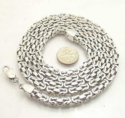 """Mens 36"""" 5mm All Shiny Square Byzantine Chain Necklace Real Solid 925 Silver"""