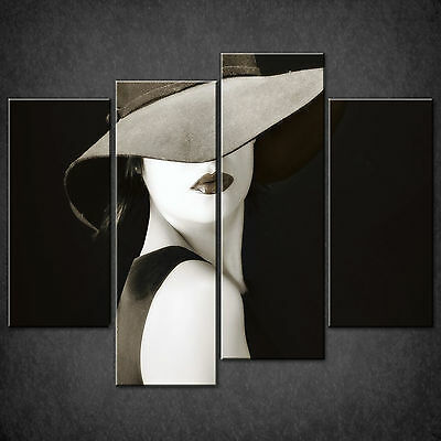 Retro Woman With Hat Cascade Canvas Wall Art Print Picture Ready To Hang