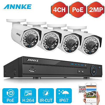 ANNKE 1080P Network POE 4CH 5MP NVR 2MP Security Camera System Cloud Storage WDR