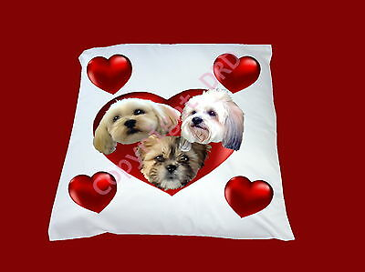 Cushion Lhasa Apso Heart, Cover or full Cushion 3 Dogs, 33cm Square Xmas Gift