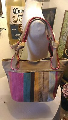 6a243f115 NWOT Fossil purse XL tote/shopper/laptop case sized canvas striped  multicolor