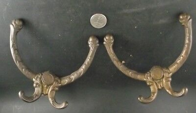 2 Antique Matching Hall Seat  Coat Rack Hooks 1900's