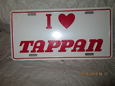 I Love Tappan, Metal Moulded License Plate,made In Usa.