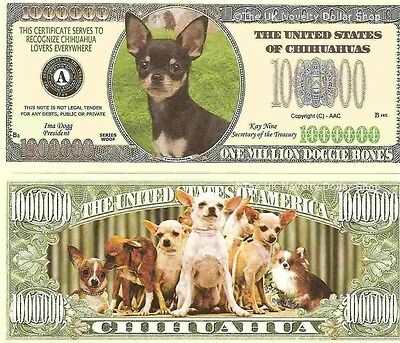 Chihuahua Dog One Million Dollar Bills x 4 New Gift