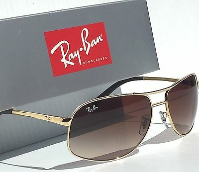 NEW* Ray Ban AVIATOR Gold 64mm Brown w Bronze Gradient Sunglass RB 3387 001/13