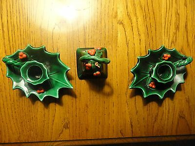 Vintage Lefton Ceramic Christmas Holly Red Berries Pair Candle Holders and Bell