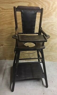 Antique Wood Baby High Chair Folds Down to Childs Stroller/ Walker Potty Chair