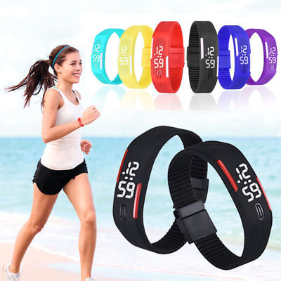Fashion Men's Women's Rubber Silicone Digital Led Bracelet Sport Wrist Watch