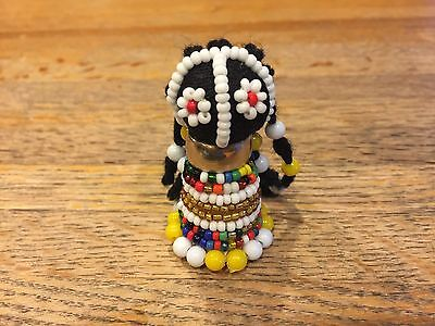 "African Ndebele Hand Made fertility doll (2.5"") Yellow/Gold"