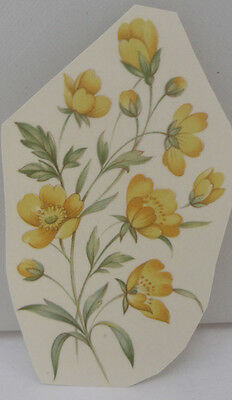 Ceramic Decal   10 x 6cm    YELLOW WILDFLOWERS  (3 pieces)