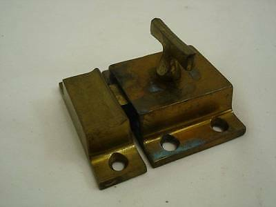 Vintage Cabinet Latch Cupboard Door Keeper Brass Colored Lock w/ Keeper