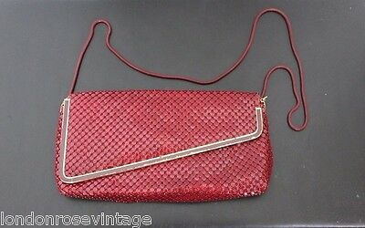 Vintage Burgundy Glomesh Style Clutch with Chain and Original Mirror Case