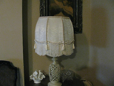 """Victorian French  Large Floor Table Lamp Shade """"Ruche"""" Off White 6"""" Fringe"""