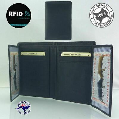 RFID Men's Genuine Cow Leather Wallet, Travel Bi-fold Credit Card Protector 2