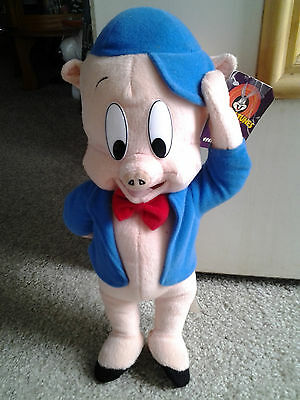 PORKY PIG in BLUE CAP & JACKET RED BOW TIE vintage PLUSH DOLL from LOONEY TUNES