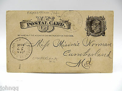 1884 US Postal Card UX7 Postmarked Beardstown IL to Cumberland MD