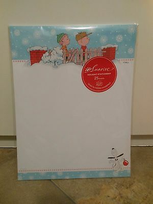 Peanuts Snoopy Christmas Stationary 25 SHEETS Charlie Brown Paper Letter Notes