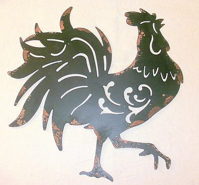 NEW~Distressed Black Sheet Metal Rooster Wall Hanging Farmhouse Chicken