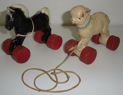 Vintage Horse & Lamb,Wood & Composition Pull Toys (Pony,Sheep)