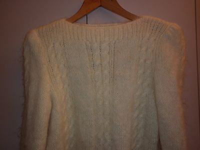 VINTAGE 1940s HAND CABLE KNIT SMALL CREAM MOHAIR JUMPER EXCELLENT CONDITION