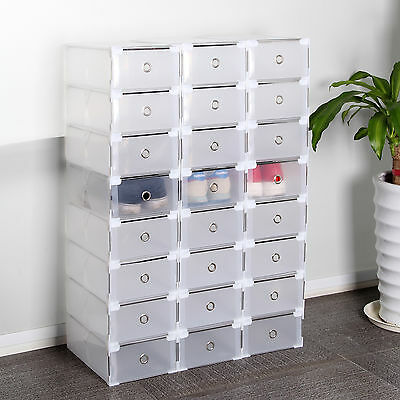 24 Foldable Clear Plastic Shoe Boxes Drawer Stackable Home Storage Box Organiser