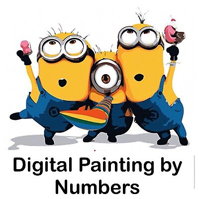 """16x20"""" Digital Paint By Number Kit. Fabric Canvas & 14 Colours. Art Picture Gift"""