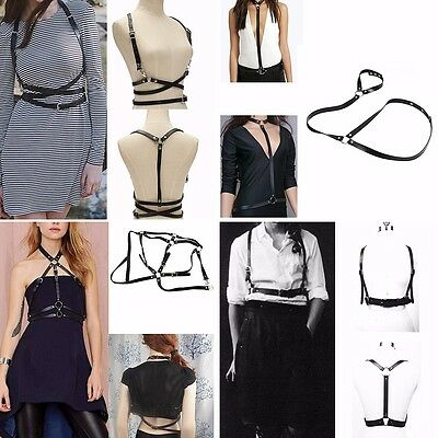 Sexy Women Black Body Synthetic Leather Adjustable Harness Harajuku Strappy Belt
