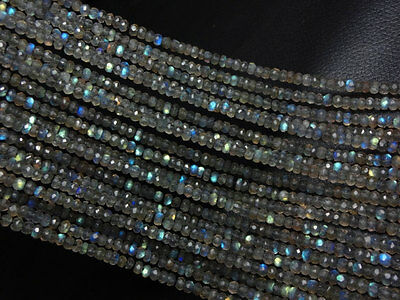 """Ebay LABRADORITE faceted Rondelle Micro Beads 3.5 mm 13"""" Strand For Necklace A11"""
