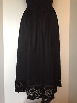Ladies Vintage Retro Black Polyester Half Slip Size 16/18
