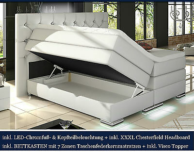 XXXL Boxspringbett Bettkasten LED WEISS 180x200 200x200 CHESTERFIELD