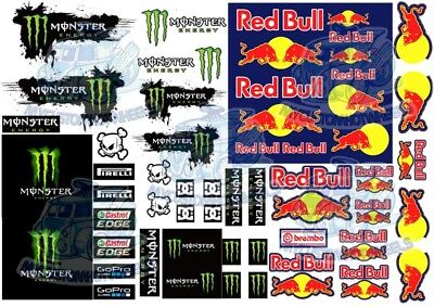 Monster Energy & Red Bull Racing | Waterslide Decals for all scale Model Cars