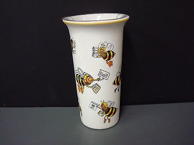 Vintage 1998 Ceramic Teleflora Vase with Busy Bees