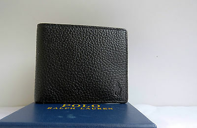Polo Ralph Lauren Billfold  BLACK  Pebble Leather Wallet With Coin Pocket