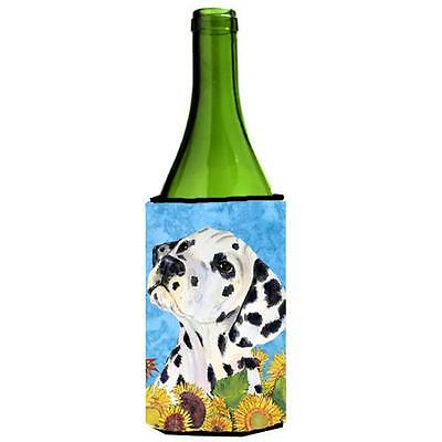Carolines Treasures Dalmatian In Summer Flowers Wine bottle sleeve Hugger 24 oz. • AUD 48.26