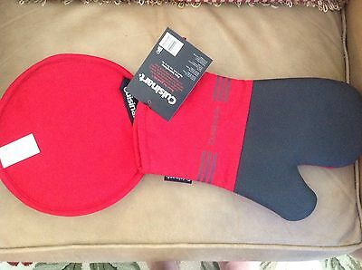 Cuisinart  Oven Mitt And Pot Holder Black Red  Silicone  Nwt