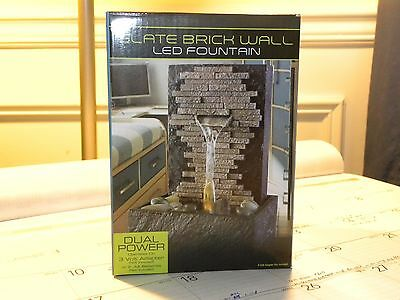 Water Fountain SLATE BRICK WALL Indoor Feature LED Calming Table Home Decor NEW