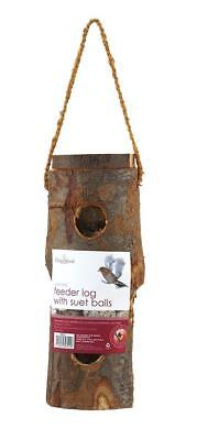 Chapelwood Feeder Log Wild Bird Garden Feeder with 4 Suet Feed Balls CPW0721
