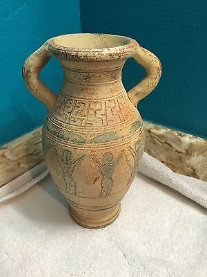 Antique:  VASE / PITCHER WITH Double Handles, Tribal Design ,Heavy piece. .