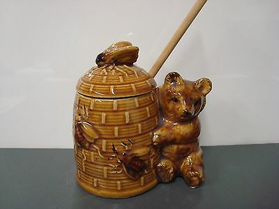 Vintage Ceramic Brown Bear and Bee Hive Honey Pot with wooden dipper Japan