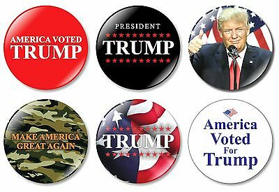 6 x President Donald Trump 32mm BUTTON PIN BADGES 2016 Make America Great