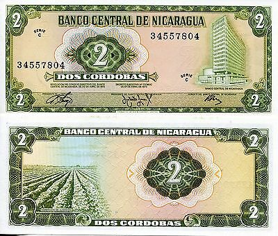 NICARAGUA 2 Cordoba Banknote World Paper Money UNC Currency Pick p-121 Bill Note