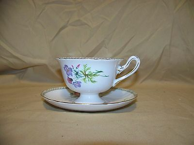 Shelley Bone China Wild Flowers Teacup & Saucer Set In Excellent Used Condition