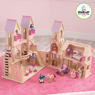 Kidkraft Princess Castle with Furniture - Girls Pink Wooden Castle & Accessories