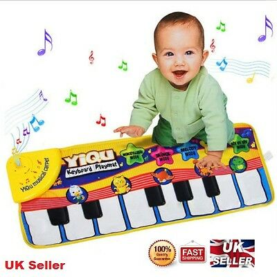 Musical Kid Piano Baby Crawl Mat Animal Educational Music Soft Kick Toy UK Stock