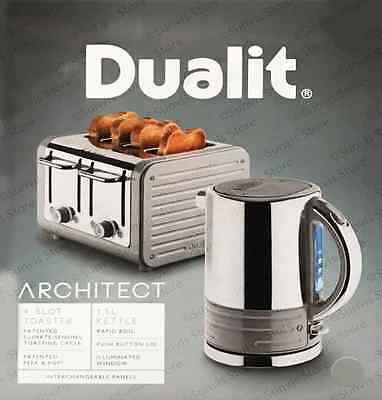 Dualit Architect Stainless Steel 1.5 L Kettle & 4 Slice Toaster Set Telegrey