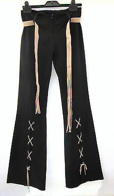 Vintage Ladies 60's 70's Hippy Festival Flares stretch Trousers  Black  Beige