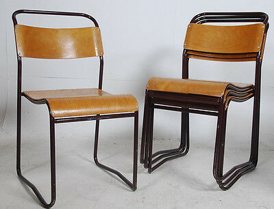 Set 4 Vintage Mid Century Steel Frame Stacking chairs
