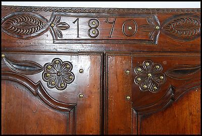 19th Century 2 Door Chestnut Breton Marriage Armoire with hand carved detail